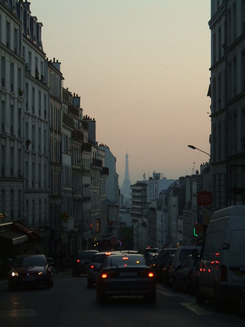 Evening in Paris, looking down the Rue de Belleville